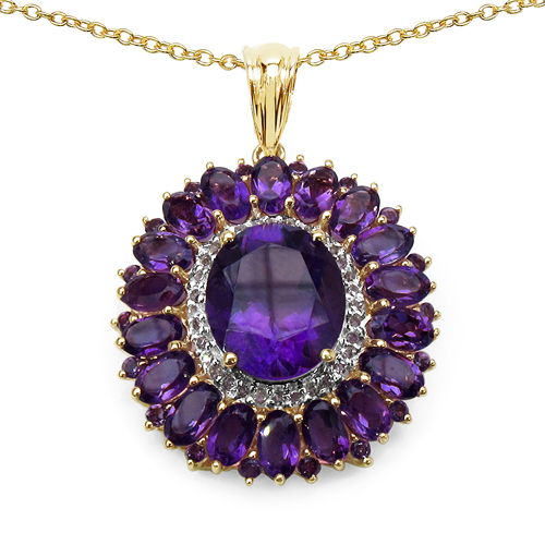 Amethyst-14K Yellow Gold Plated 8.55 Carat Genuine Amethyst & White Topaz .925 Sterling Silver Pendant