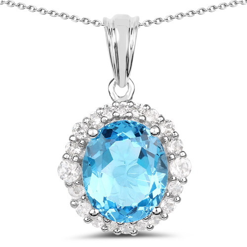 6.12 Carat Genuine Swiss Blue Topaz and White Topaz .925 Sterling Silver Pendant