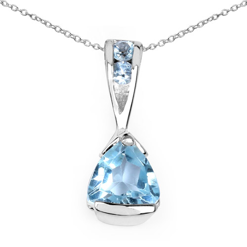Pendants-0.77 Carat Genuine Blue Topaz .925 Sterling Silver Pendant