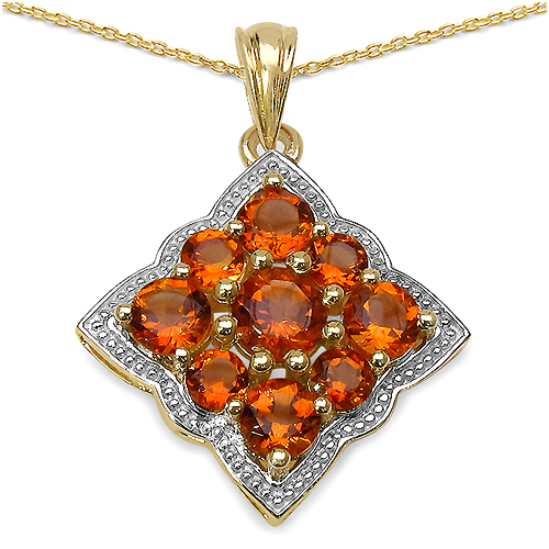Citrine-14K Yellow Gold Plated 3.90 Carat Genuine Citrine .925 Streling Silver Pendant