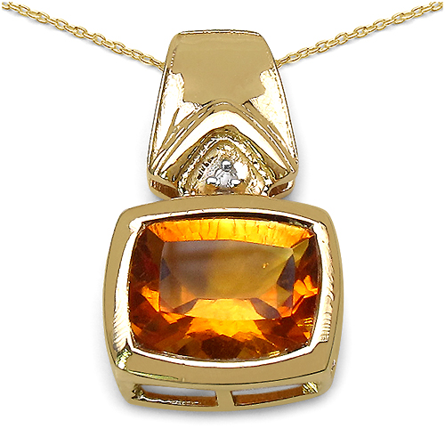 Citrine-14K Yellow Gold Plated 2.61 Carat Genuine Citrine & White Diamond .925 Streling Silver Pendant