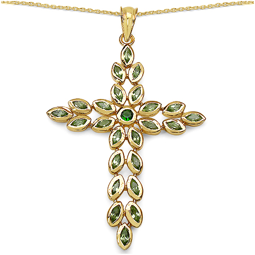 Pendants-14K Yellow Gold Plated 2.53 Carat Genuine Chrome Diopside & Peridot .925 Streling Silver Pendant