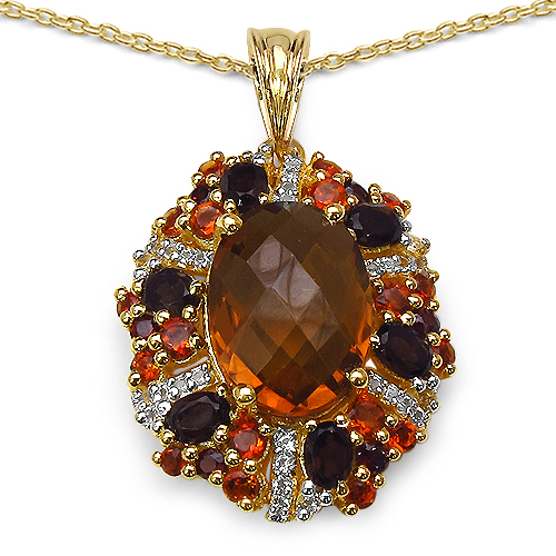 Pendants-14K Yellow Gold Plated 7.70 Carat Genuine Multi Stone .925 Streling Silver Pendant