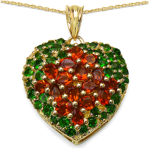 Citrine-14K Yellow Gold Plated 5.62 Carat Genuine Citrine & Chrome Diopside .925 Streling Silver Pendant