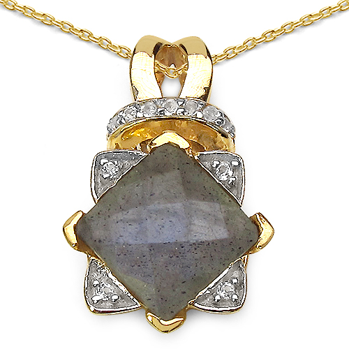 14K Yellow Gold Plated 2.77 Carat Genuine Labradorite .925 Sterling Silver Pendant