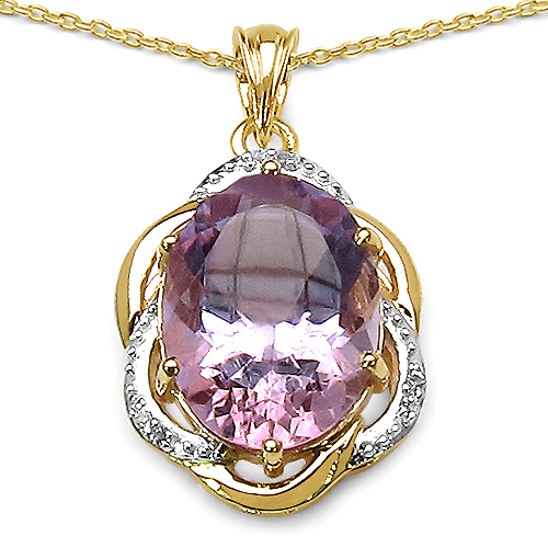 Amethyst-14K Yellow Gold Plated 10.50 Carat Genuine Amethyst & White Topaz .925 Streling Silver Pendant