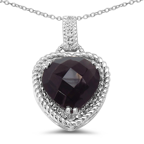 Pendants-5.70 Carat Genuine Smoky Quartz & White Topaz .925 Sterling Silver Pendant