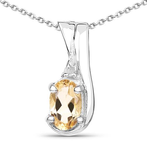 0.44 Carat Genuine Citrine and White Diamond .925 Sterling Silver Pendant
