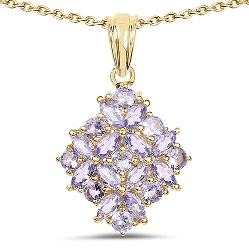 Tanzanite-14K Yellow Gold Plated 2.58 Carat Genuine Tanzanite .925 Sterling Silver Pendant