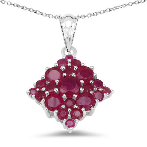 Ruby-3.16 Carat Genuine Ruby .925 Sterling Silver Pendant