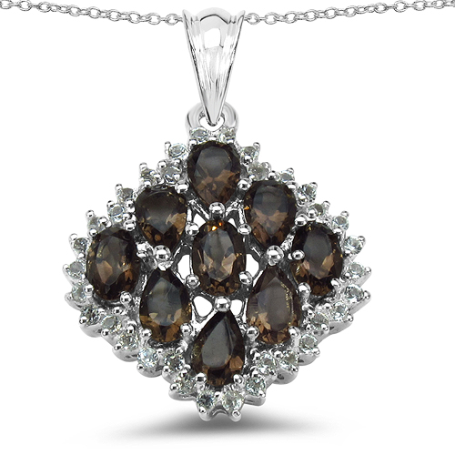 Pendants-4.40 Carat Genuine Smoky Quartz & White Topaz .925 Sterling Silver Pendant