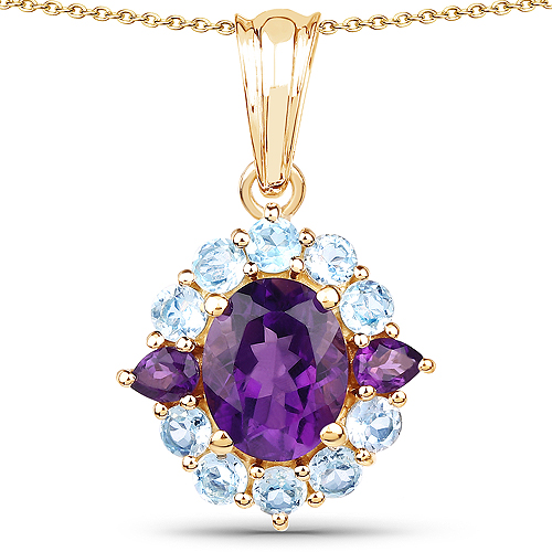 Amethyst-14K Yellow Gold Plated 3.70 Carat Genuine Amethyst and Blue Topaz .925 Sterling Silver Pendant