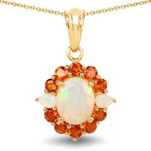 Opal-14K Yellow Gold Plated 2.78 Carat Genuine Ethiopian Opal & Madeira Citrine .925 Sterling Silver Pendant