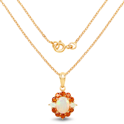 14K Yellow Gold Plated 2.78 Carat Genuine Ethiopian Opal & Madeira Citrine .925 Sterling Silver Pendant