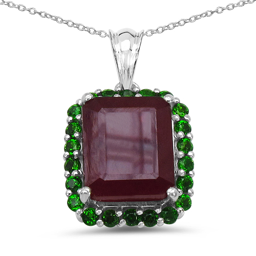 Ruby-8.00 Carat Genuine Ruby & Chrome Diopside .925 Sterling Silver Pendant