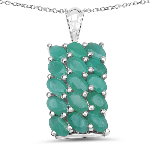 Emerald-3.53 Carat Genuine Emerald .925 Sterling Silver Pendant