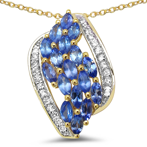 Tanzanite-14K Yellow Gold Plated 1.41 Carat Genuine Tanzanite & White Topaz .925 Sterling Silver Pendant