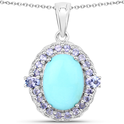 6.04 Carat Genuine Turquoise and Tanzanite .925 Sterling Silver Pendant