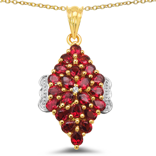 Rhodolite-14K Yellow Gold Plated 4.42 Carat Genuine Rhodolite & White Topaz .925 Sterling Silver Pendant