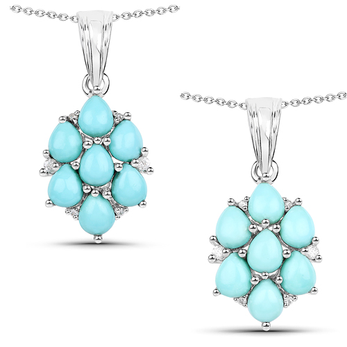 Pendants-2.16 Carat Genuine Turquoise and White Zircon .925 Sterling Silver Pendant
