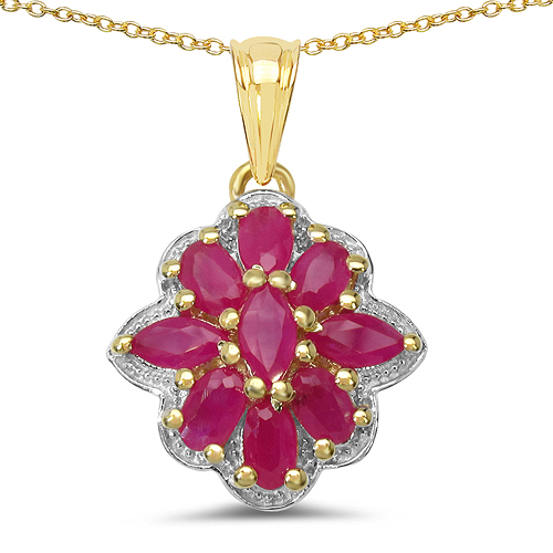 Ruby-14K Yellow Gold Plated 2.76 Carat Genuine Ruby .925 Sterling Silver Pendant