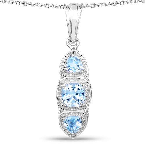 Pendants-1.17 Carat Genuine Blue Topaz .925 Sterling Silver Pendant