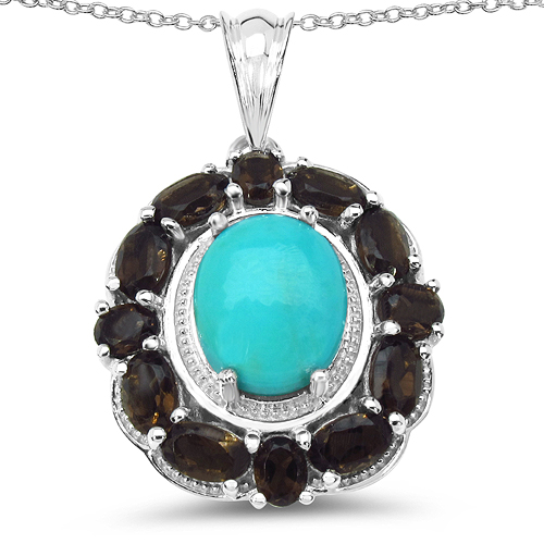 6.24 Carat Genuine Turquoise & Smoky Quartz .925 Sterling Silver Pendant