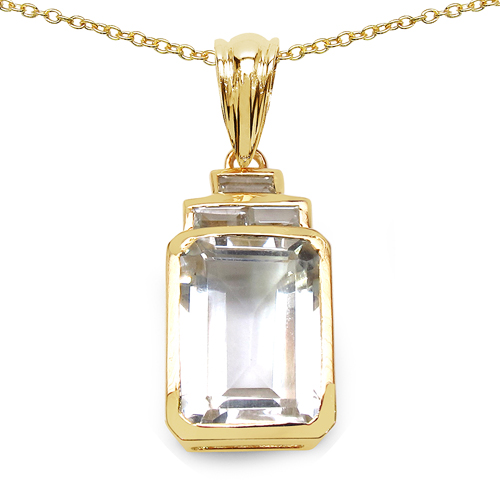 Pendants-14K Yellow Gold Plated 7.70 Carat Genuine Crystal Quartz & White Topaz .925 Sterling Silver Pendant
