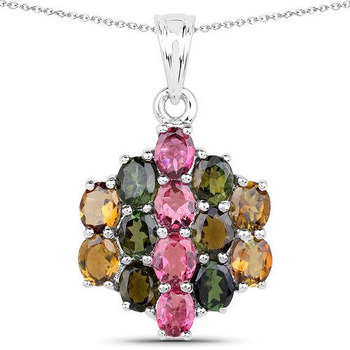 Pendants-4.34 Carat Genuine Pink Tourmaline, Green Tourmaline & Brown Tourmaline .925 Sterling Silver Pendant