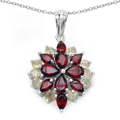 GENUINE STERLING SILVER PENDANT TANZANITE GARNET RUBY SAPPHIRE BLACK FIRE OPAL
