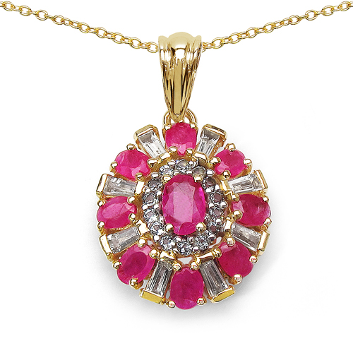Ruby-14K Yellow Gold Plated 2.94 Carat Genuine Glass Filled Ruby & White Topaz .925 Sterling Silver Pendant