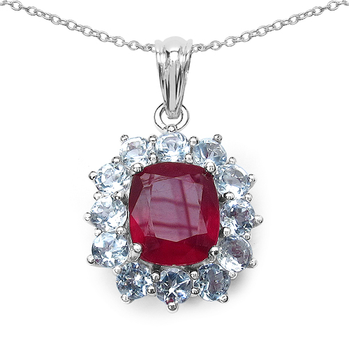 Ruby-12.44 Carat Genuine Glass Filled Ruby & White Topaz .925 Sterling Silver Pendant