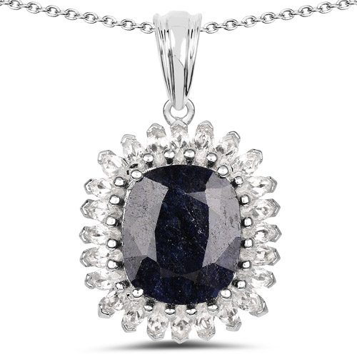 Sapphire-8.66 Carat Dyed Sapphire and White Topaz .925 Sterling Silver Pendant