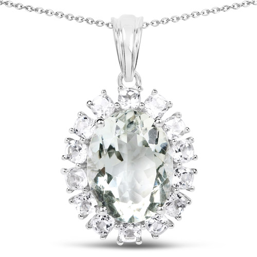 Amethyst-10.56 Carat Genuine Green Amethyst and White Topaz .925 Sterling Silver Pendant