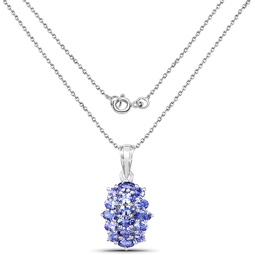 3.48 Carat Genuine Tanzanite .925 Sterling Silver Pendant