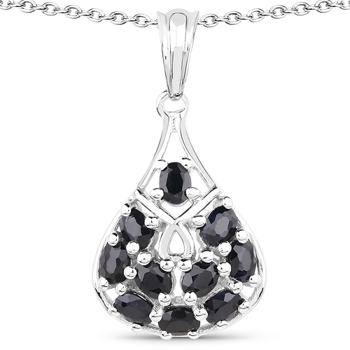 Sapphire-2.20 Carat Genuine Glass Filled Sapphire .925 Sterling Silver Pendant