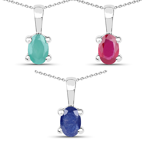 Emerald-1.46 Carat Genuine Emerald, Glass Filled Ruby & Glass Filled Sapphire .925 Sterling Silver Pendant