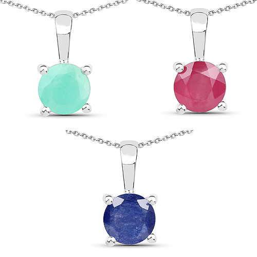 Emerald-2.75 Carat Genuine Emerald, Glass Filled Ruby & Glass Filled Sapphire .925 Sterling Silver Pendant