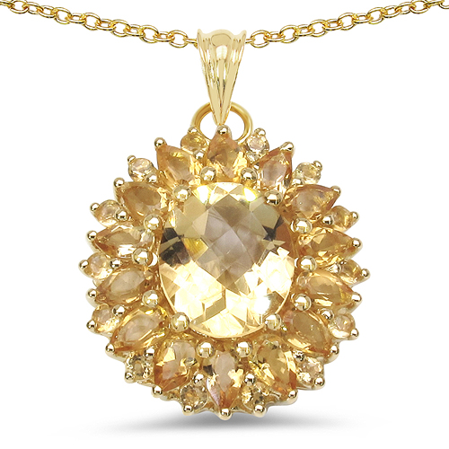 Citrine-18K Yellow Gold Plated 7.59 Carat Genuine Citrine .925 Sterling Silver Pendant