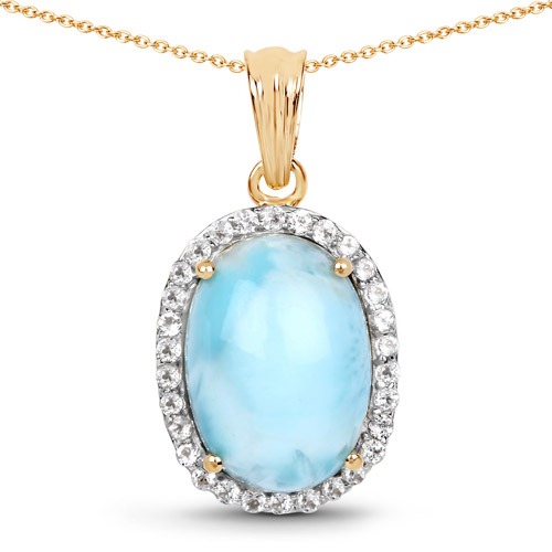 Pendants-14K Yellow Gold Plated 13.55 Carat Genuine Larimar and White Topaz .925 Sterling Silver Pendant