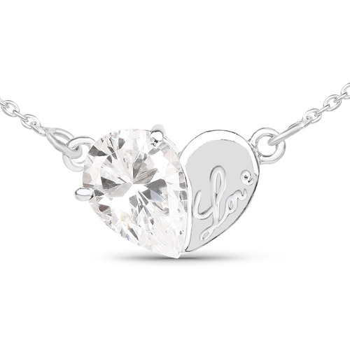 Pendants-3.20 Carat Genuine White Cubic Zirconia .925 Sterling Silver Pendant