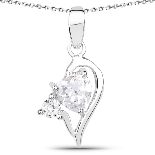 Pendants-1.60 Carat Genuine White Cubic Zirconia .925 Sterling Silver Pendant