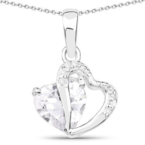Pendants-3.36 Carat Genuine White Cubic Zirconia .925 Sterling Silver Pendant
