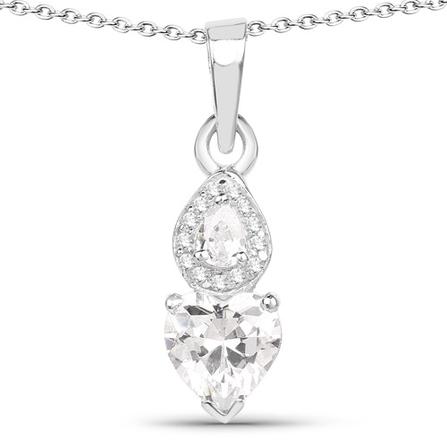 Pendants-2.57 Carat Genuine White Cubic Zirconia .925 Sterling Silver Pendant