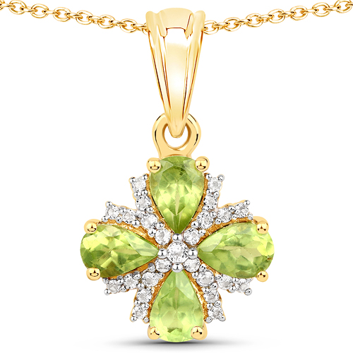18K Yellow Gold Plated 1.79 Carat Genuine Peridot and White Topaz .925 Sterling Silver Pendant
