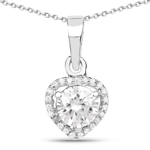 Pendants-1.52 Carat Genuine White Cubic Zirconia .925 Sterling Silver Pendant
