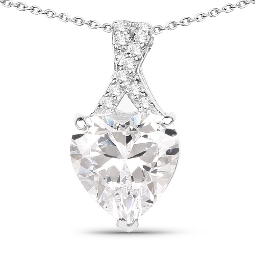 Pendants-4.45 Carat Genuine White Cubic Zirconia .925 Sterling Silver Pendant