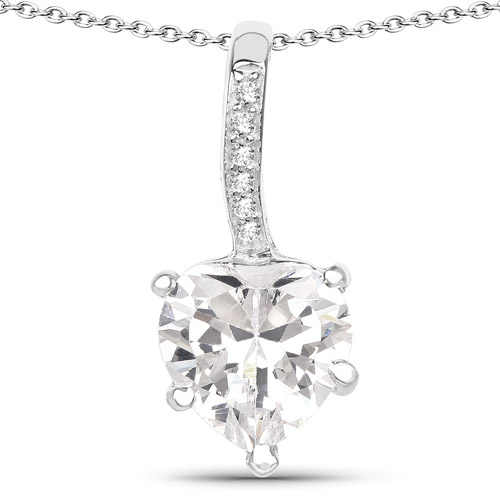 Pendants-4.46 Carat Genuine White Cubic Zirconia .925 Sterling Silver Pendant