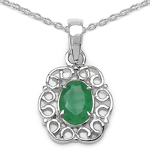 Emerald-0.73 Carat Genuine Emerald Sterling Silver Pendant