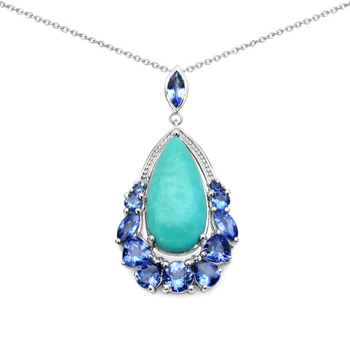 8.48 Carat Genuine Turquoise and Tanzanite .925 Sterling Silver Pendant